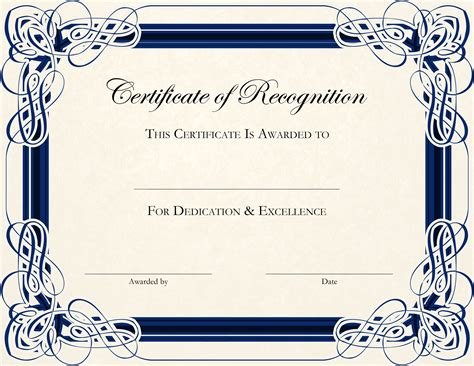 template certificate certificate of recognition templates genie