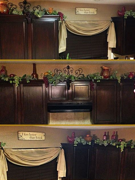 decor  top  kitchen cabinets grapes vines