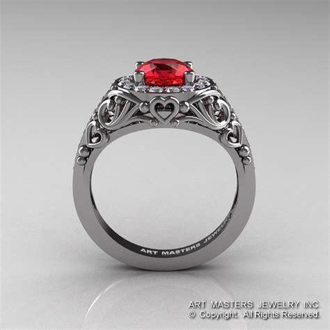 italian 14k white gold 1 0 ct ruby engagement ring