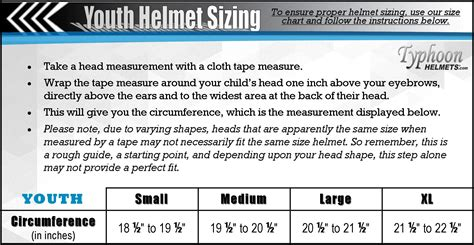 motocross helmet sizes youth atv or motocross helmet sizing tips typhoon helmets
