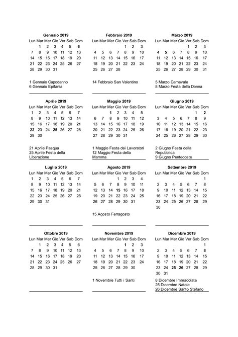 Calendario 2018 Con Festività Italiane Calendario 2019 Con Festivit 224 Italiane Stabile