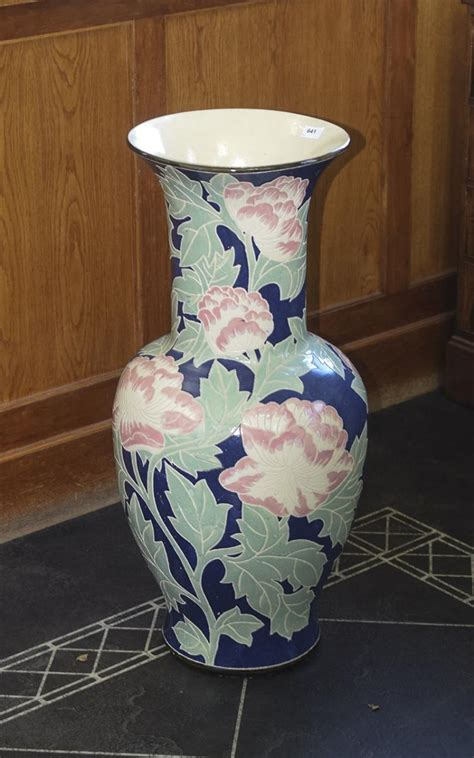 Large Standing Vase Large Floor Standing Vase Blue Ground With Pink And Green F