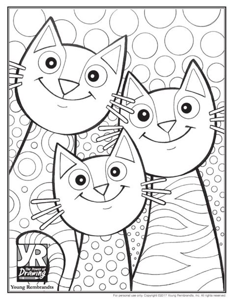 cats coloring page young rembrandts shop