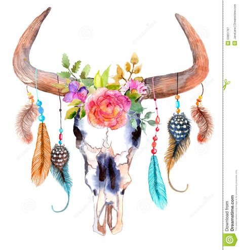 Cheetah Print Wall Stickers watercolor bull skull flowers feathers over white 53831767