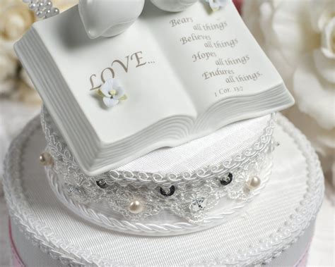 Love Verse Bible Cake Topper with Doves and Hydrangea