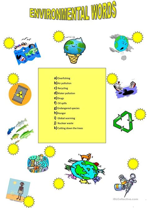 environment vocabulary worksheet free esl printable