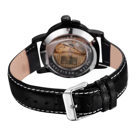 Diskon Promo Skeleton Leather Black Black Leather ouyawei skeleton leather automatic mechanical oyw1039 black silver