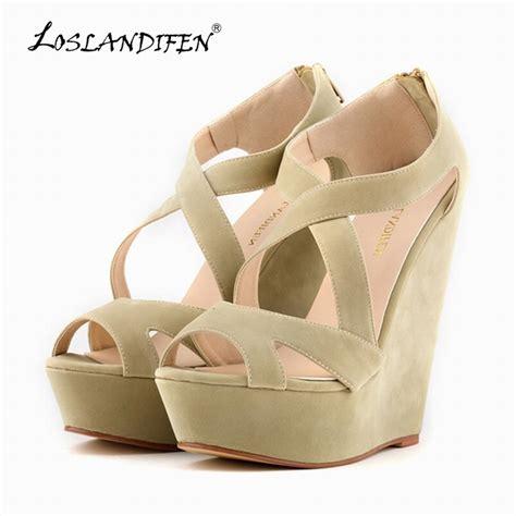 Suplier Wedges Heels aliexpress buy loslandifen fashion pumps velvet platform peep toe high heels shoes
