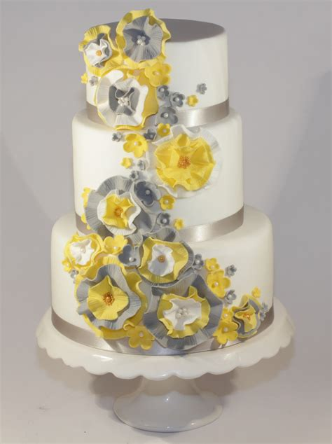yellow & grey ruffle wedding cake   A dummy cake for a local   Flickr