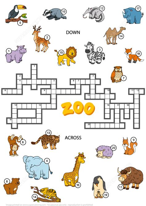Animal Puzzle crossword puzzle about zoo animals free printable puzzle