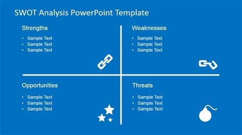 flat swot analysis powerpoint template slidemodel