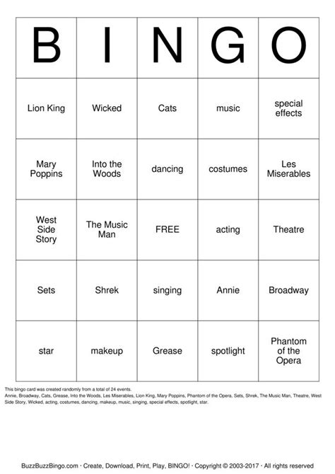 Broadway Bingo Cards to Download, Print and Customize!
