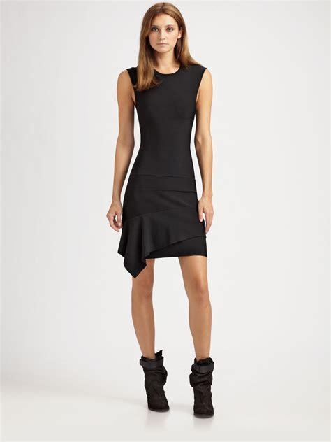 Hem Foxy Black Stretch bcbgmaxazria stretch tiered hem dress in black lyst