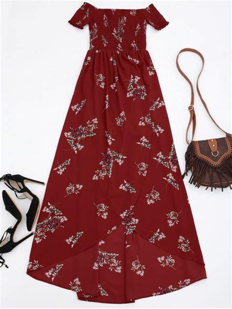 Asymmetric Shoulder Dress S M L 17712 shoulder floral shirred asymmetric maxi dress