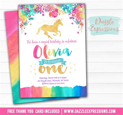 free printable birthday card unicorn printable rainbow and gold unicorn birthday invitation