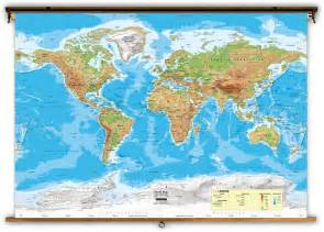Classroom World Map by World Intermediate Physical Classroom Map From Academia Maps