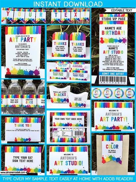 Easy Home Decor Craft Ideas by Art Birthday Party Theme Printables Paint Party