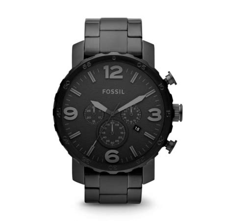 jual fossil jr1401 nate chronograph black stainless steel