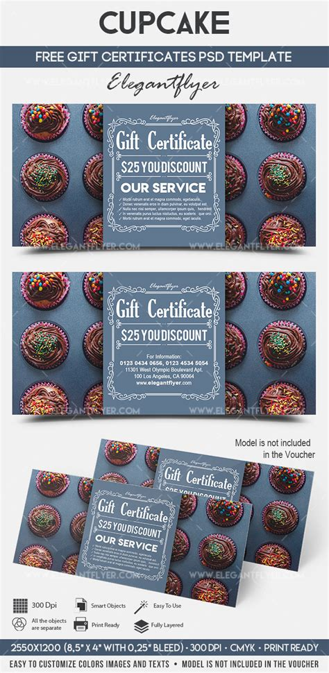 Cupcake Free Gift Certificate Psd Template By Elegantflyer Gift Flyer Template
