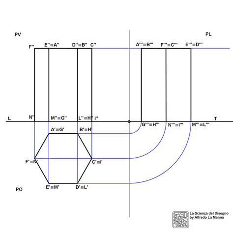 proiezioni ortogonali lettere proiezioni ortogonali di un prisma esagonale