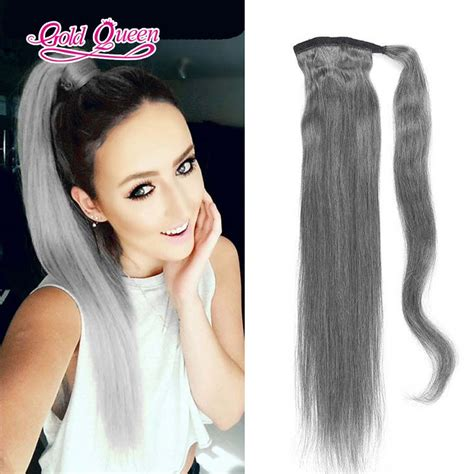 grey hair drawstring ponytail online buy wholesale brazilian ponytail extensions with