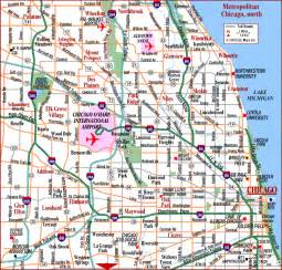 Chicago Metro Area Map by Road Map Of Chicago Metro North Chicago Illinois