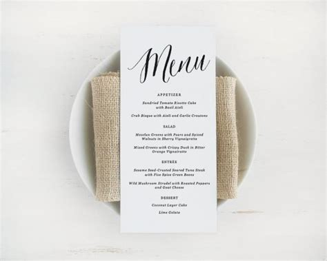 printable wedding menu template editable text and color