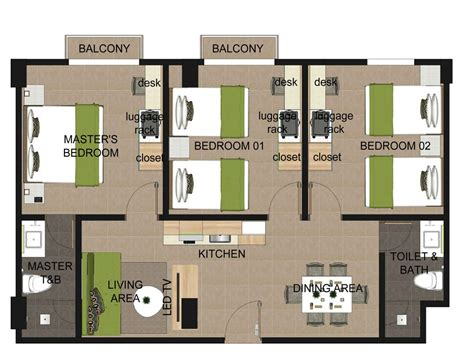 3 bedroom floor plan three bedroom apartment suites azalea boracay