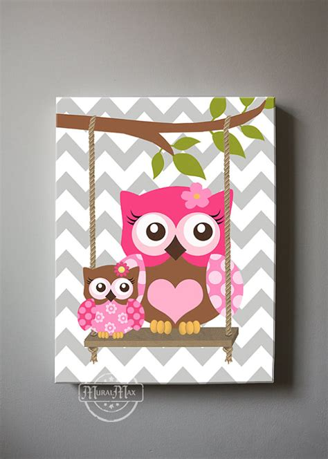 Pink And Brown Nursery Decor Pink And Brown Nursery Owl Canvas Nursery Decor