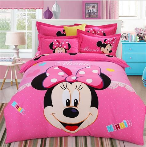girls queen size bedding mickey minnie cartoon kids boys girls bedding set 4pcs