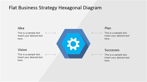 flat business strategy hexagonal powerpoint diagram