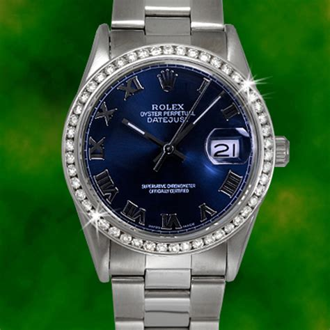 rolex mens datejust blue stainless