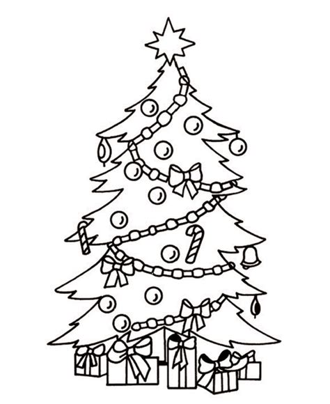 christmas tree with gifts coloring page christmas tree drawing ideas for kids inspirationseek com