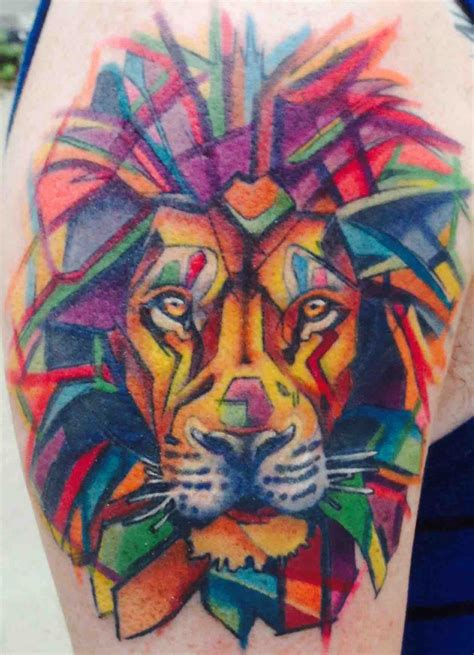 watercolor lion by james hurley at eclectic tattoo lansing