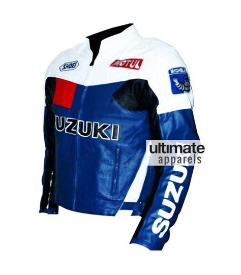 Suzuki Leather Jacket by Suzuki S Blue And White Motorcycle Leather Jacket