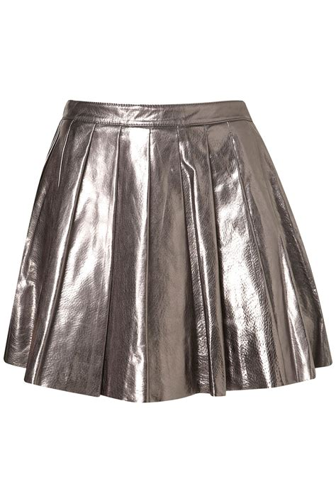 topshop premium silver pleated skirt in metallic lyst