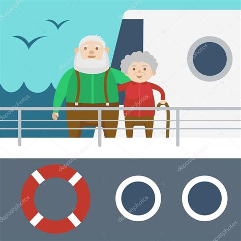 barco crucero dibujo pareja de ancianos en un vector de dibujos animados de