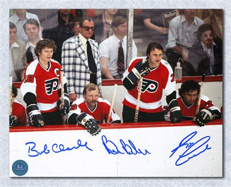 flyers bench bobby clarke barber leach signed philadelphia flyers lcb