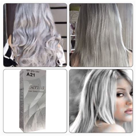 light grey hair dye berina a21 light gray color grey silver color permanent