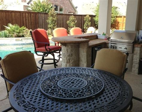 patio table with pit built in outdoor swivel dining chairs ideas with dining table