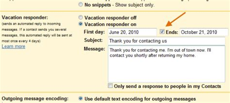 Vacation Response Template