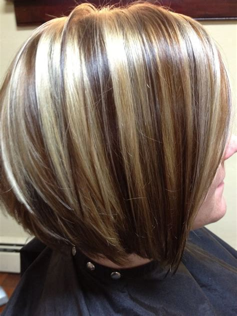 chunking or highlighting short brown hairstyle chocolate brown hair with chunky blonde highlights