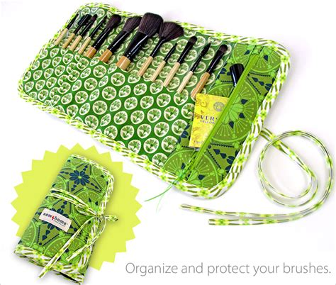 Makeup Brush Roll up Case with Zippered Pocket   Sew4Home