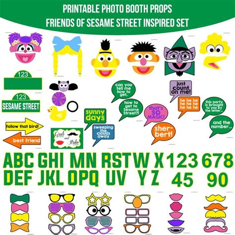 elmo photo booth props printable 9 best sesame street party images on pinterest printable