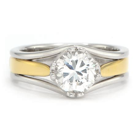 two tone engagement rings two tone yellow gold engagement ring wixon jewelers