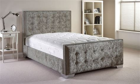 groupon bed crafted fabric bed frame groupon goods