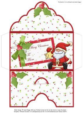 christmas money wallet envelope santa star  craftsuprint designed  janet briggs christmas