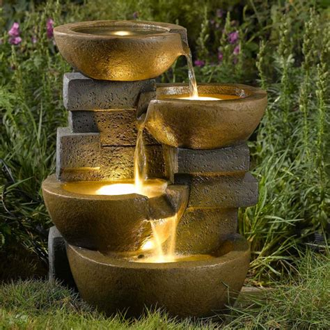 Water Fountains With Lights Pots Led Lights Water Contemporary Indoor