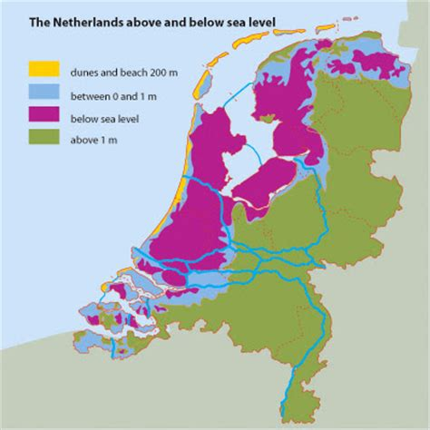 netherlands map below sea level santje beemster and amsterdam