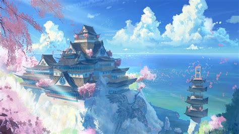 anime landscape android wallpaper free japan temple scenery anime manga computer desktop